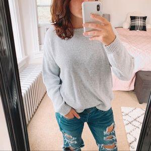 BRANDY MELVILLE   Gray Knit Crewneck Sweater